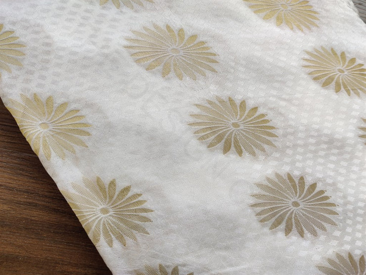 White Floral Dyeable Jacquard Fabric | The Design Cart