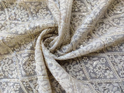 Beige Floral Embroidered Georgette Fabric | The Design Cart