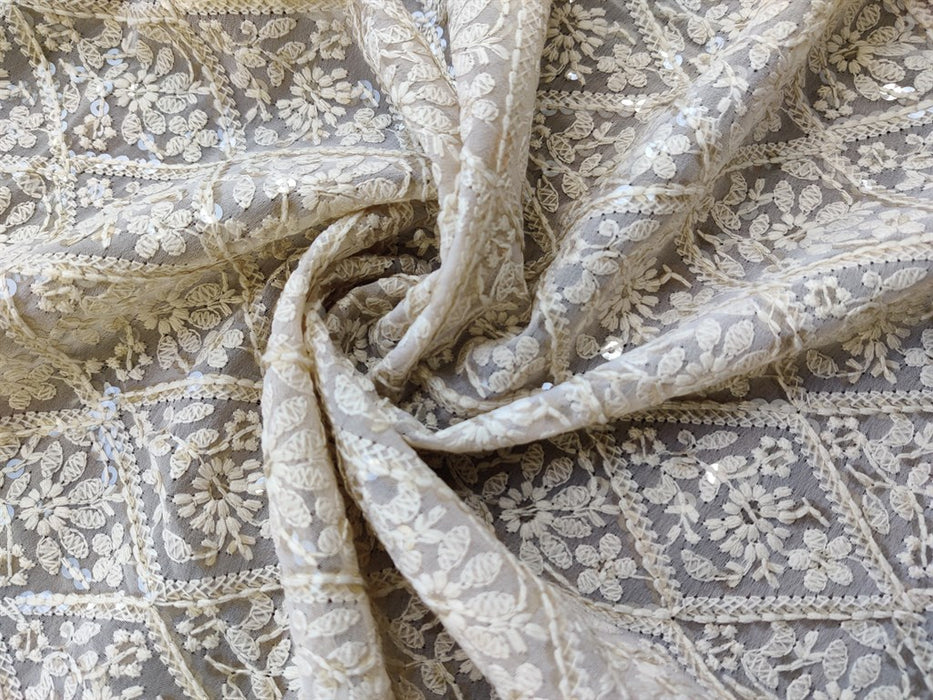 Beige Floral Embroidered Georgette Fabric