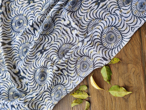 White Dyeable Geometric Printed Georgette Fabric