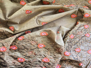 Dull Golden Floral Design Chanderi Silk Fabric