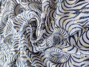 White Dyeable Geometric Printed Georgette Fabric | The Design Cart