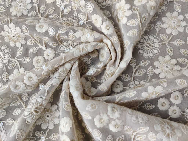 Beige Sequins Embroidered Georgette Fabric | The Design Cart