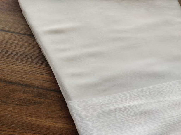 White Dyeable Chiffon With Double Sided Satin Border | The Design Cart