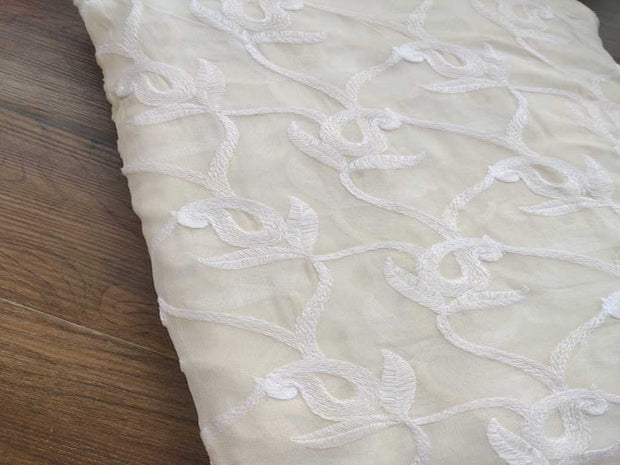 Dyeable Embroidered Paisleys Georgette Fabric | The Design Cart