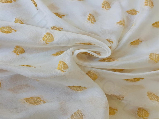 White Golden Leaves Chinon Chiffon Fabric | The Design Cart (3751407517730)