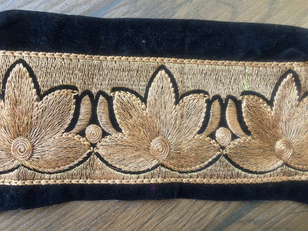 Black Golden Zari Work Embroidered Borders | The Design Cart