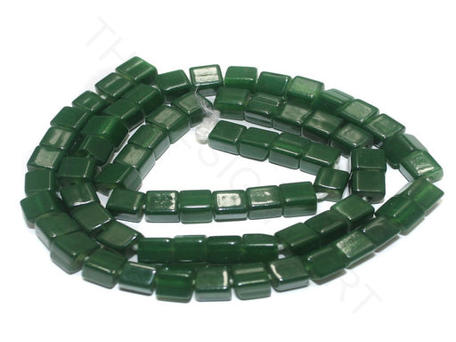 Green Cubical Jaipuri Glass Beads (6 mm)