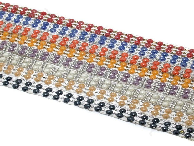 Multicolour Pearl and Rhinestone Lace | The Design Cart