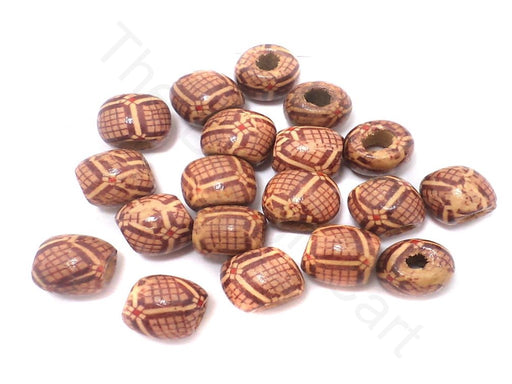 100 Printed Wooden Tyre Beads