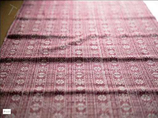 Maroon White Striped Leaves Design Cotton Jacquard Fabric
