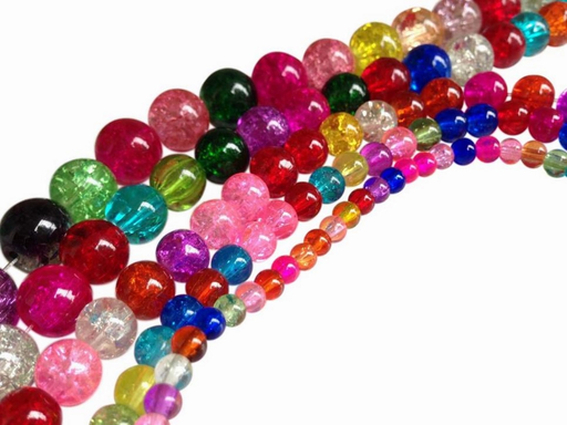 Mixed Size Assorted Multicolor Round Crackle Glass Beads