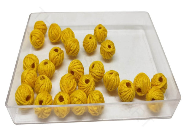 Yellow 2 Drum Woven Thread Beads | The Design Cart (4320839401541)