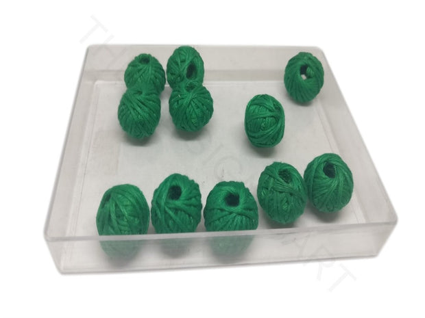 Dark Green 2 Drum Woven Thread Beads | The Design Cart (4320840286277)