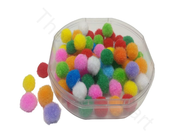 Assorted Pack Of Multicolour Round Wool Pom Poms | The Design Cart