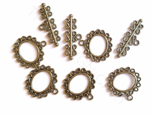 Antique Silver Oval Toggle Clasps