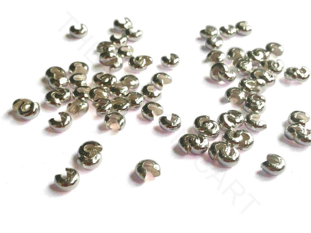Silver Curved Crimp Bead Covers | The Design Cart