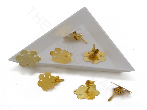 Earring Stud Iron Base 13mm Flat Round Gold Color