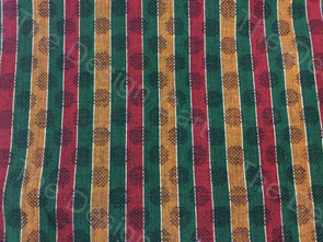 Red Green Yellow Floral Stripes Design Mangalgiri Cotton Fabric