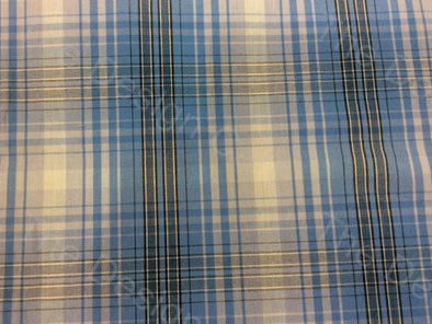 Black Blue White Stripes Design Mill Made Cotton Fabric