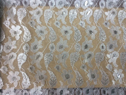White Leaves And Flower Design Dyeable Nylon Net Fabric