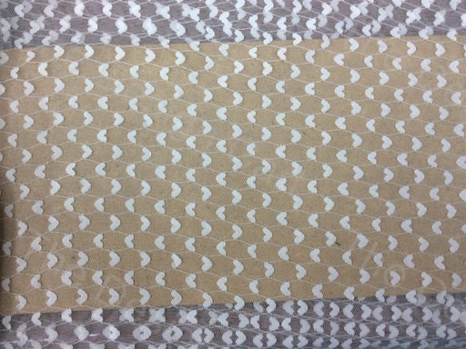 White Hearts Design Dyeable Nylon Net Fabric