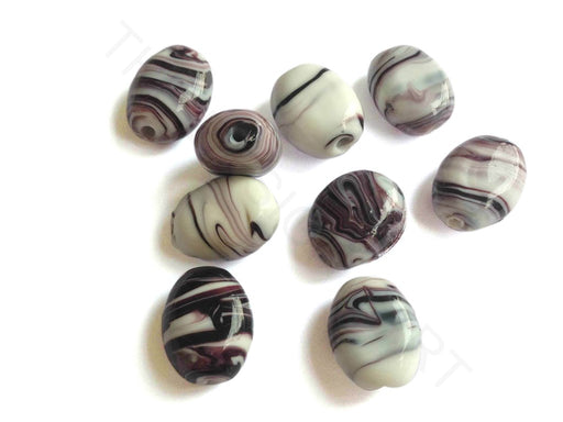 White Purple Oval Lampwork Glass Beads