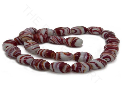 Red Oval Lampwork Glass Beads