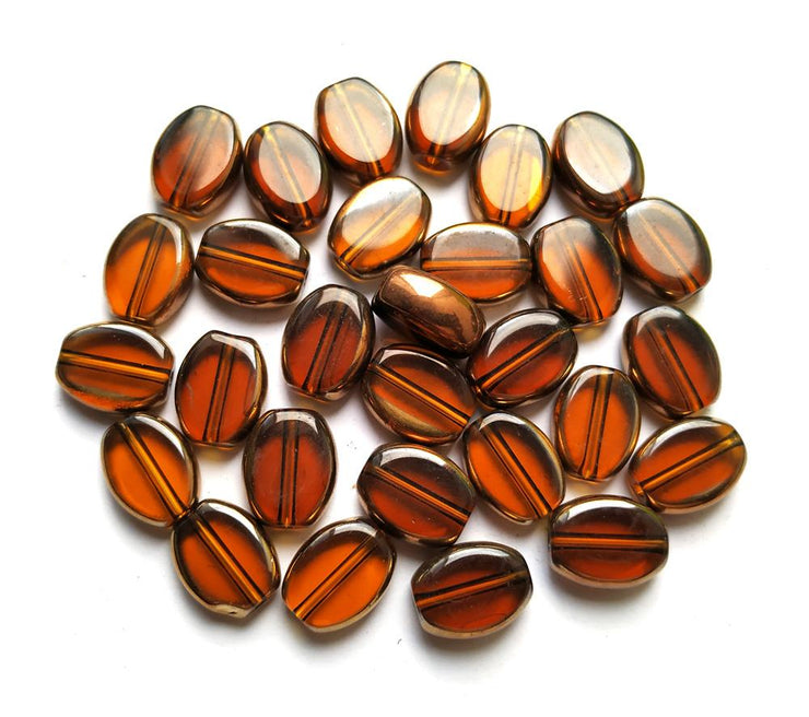 Brown Oval Glass Beads (12x8 mm) (4502988521541)