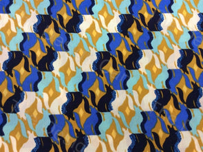 Multicolour Blue Lamp Design Printed Crepe Polyester Fabric