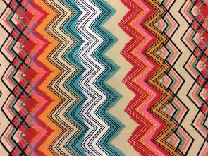 Multicolour Zig-Zag Design Crepe Polyester Ikat Fabric