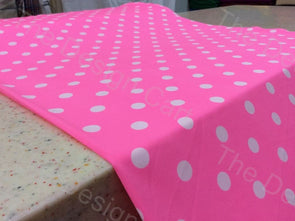 Pink White Polka Dots Design Crepe Polyester Fabric