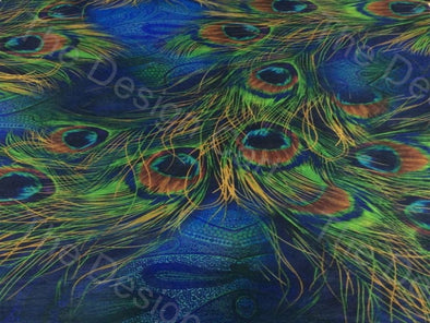 Blue Green Peacock Feather Design Printed Polyester Fabric