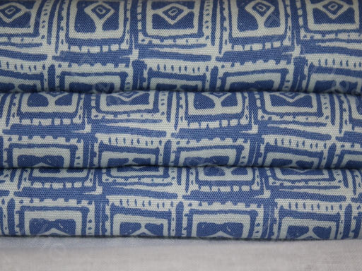 Blue White Traditional Motif Design Rayon Fabric