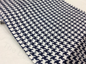 White Blue Lifeline Design Rayon Printed Fabric