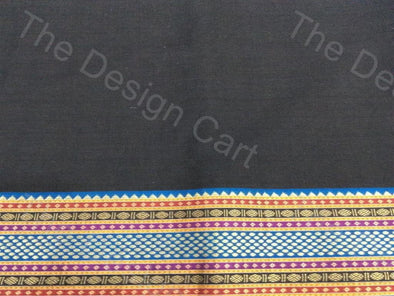 Black Blue Border Design Mangalgiri Cotton Fabric
