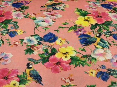 Multicolour Pink Hibiscus Design Spun Cotton Polyester Blended Fabric