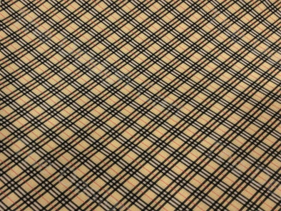 Peach Black Crossing Lines Design Spun Cotton Polyester Blended Fabric