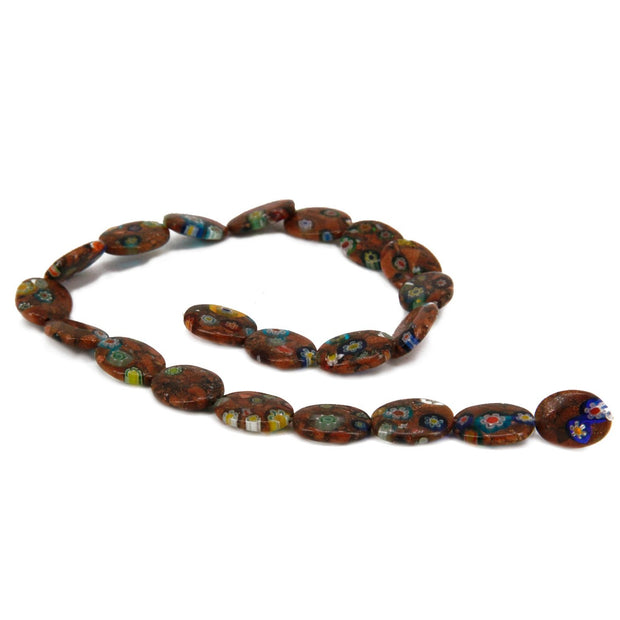 Brown Multicolour Oval Sandstone Lampwork Glass Beads | The Design Cart (4350946738245)