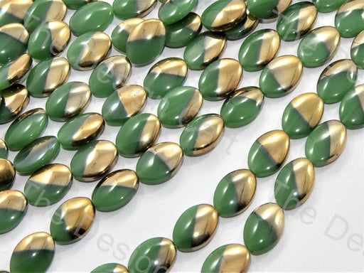 Green Golden Dual Oval Designer Beads