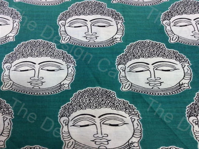 Green Buddha Design Rayon Printed Fabric