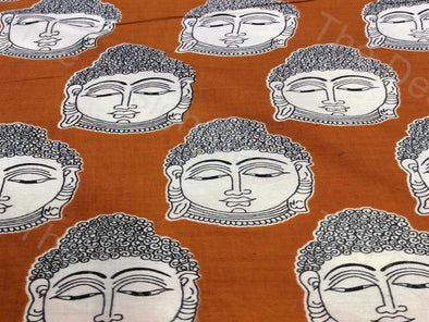 Orange Buddha Design Rayon Printed Fabric