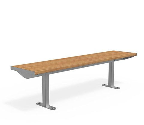 Citi Elements Bench - Hardwood - Stainless Steel - No Arms