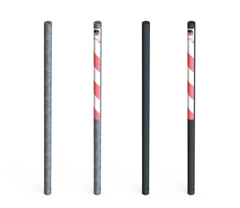 Glavanised steel Essentials bollards with powder coated steel and tape options