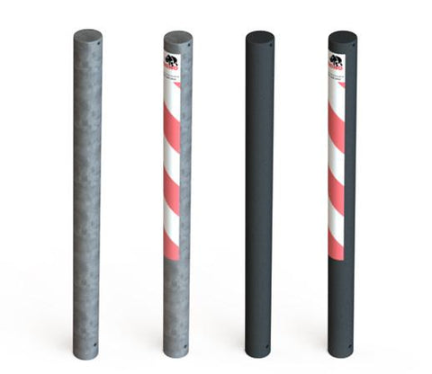Powder coated and galvanised steel bollards - low cost and easy to install