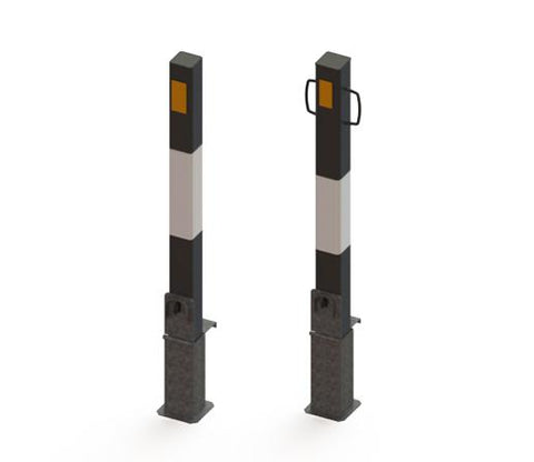 Steel lift out bollards with handles - high visibility bollards
