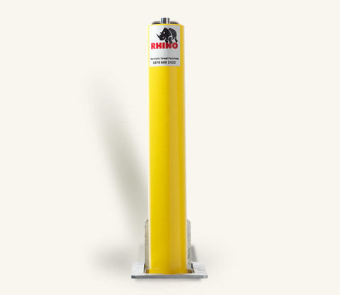 Rhino RT RD4 Round Steel Powder Coated Yellow Telescopic Security Bollard