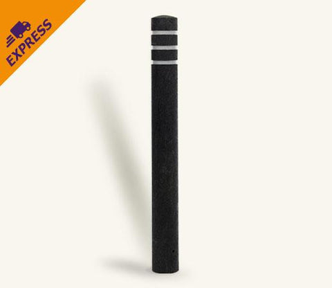 Rhino Recycled Black Plastic Bollard with 3 Reflective Bands