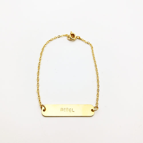unique gold bar bracelet by lux & luz