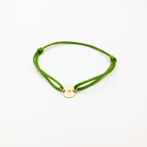 personalized satin cord initial bracelet by lux & luz